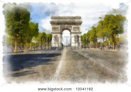 The Arc de Triomphe, a famous monument in Paris