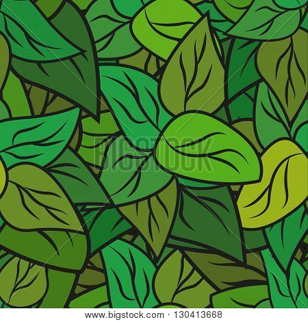Seamless texture with doodle green leaves. Vector background for card and your creativity