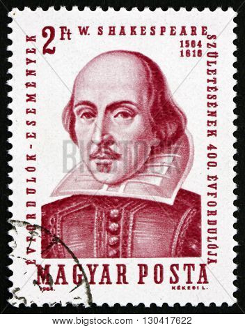 HUNGARY - CIRCA 1964: a stamp printed in Hungary shows William Shakespeare 400th anniversary of the birth of Shakespeare circa 1964