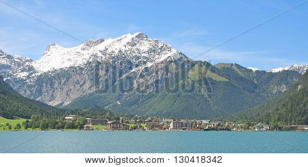 View over Lake Achensee to Village of Pertisau in Tirol,Alps,Austria