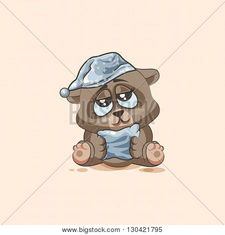 Vector Stock Illustration isolated Emoji character cartoon sleepy Bear in nightcap with pillow sticker emoticon for site, info graphic, video, animation, websites, e-mails, newsletters, reports, comics