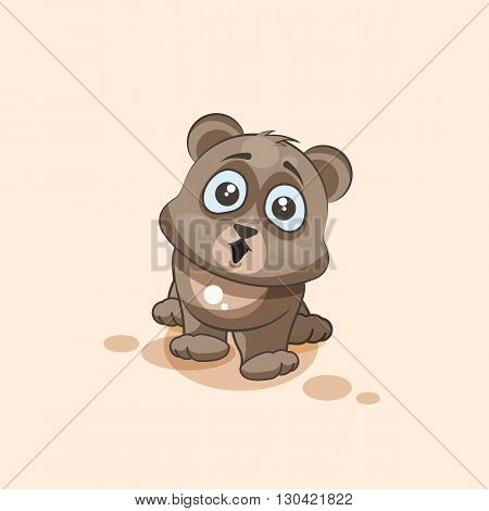 Vector Stock Illustration isolated Emoji character cartoon Bear surprised with big eyes sticker emoticon for site, info graphic, video, animation, websites, e-mails, newsletters, reports, comics