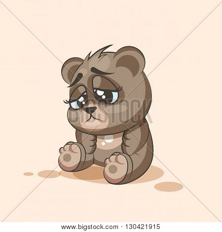 Vector Stock Illustration isolated Emoji character cartoon Bear sad and frustrated sticker emoticon for site, info graphic, video, animation, websites, e-mails, newsletters, reports, comics