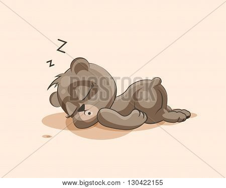 Vector Stock Illustration isolated Emoji character cartoon Bear sleeps on the stomach sticker emoticon for site, info graphic, video, animation, websites, e-mails, newsletters, reports, comics