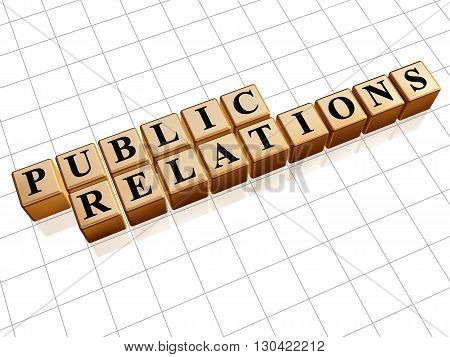 public relations - text in 3d golden cubes with black letters business pr and advertisement concept words