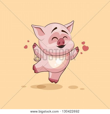 Vector Stock Illustration isolated Emoji character cartoon Pig jumping for joy, happy sticker emoticon for site, infographics, video, animation, websites, e-mails, newsletters, reports, comics