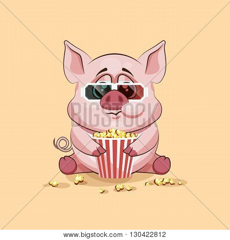 Vector Stock Illustration Emoji character cartoon Pig chewing popcorn, watching movie in 3D glasses sticker emoticon for site, infographic, video, animation, website, e-mail, newsletter, report, comic