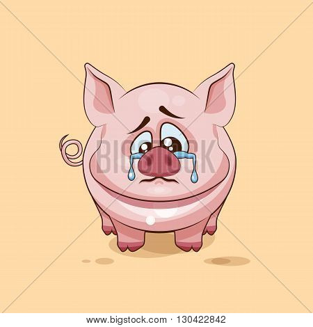 Vector Stock Illustration isolated Emoji character cartoon sad and frustrated Pig crying, tears sticker emoticon for site, infographics, video, animation, websites, e-mails, newsletters, report, comic
