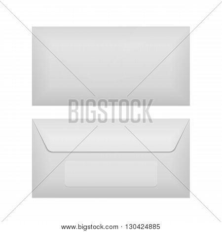 Back and front of realistic Envelope Template. Vector Illustration