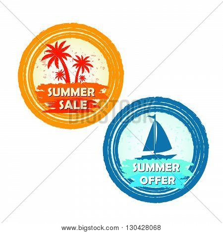 summer sale and offer banners with palms and boat signs - text in yellow orange and blue drawn circle labels with symbols, business seasonal shopping concept, vector