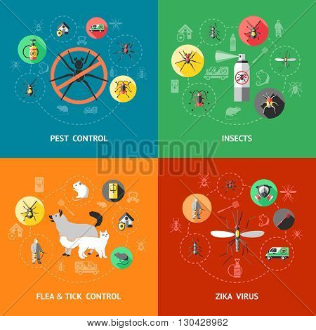 Pest control concept with insecticide against ant cockroach mosquito flea tick zika virus protection isolated vector illustration