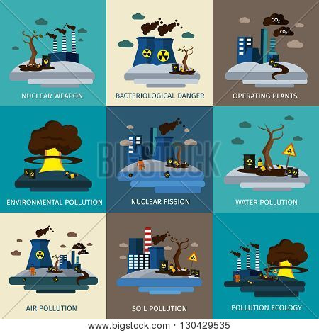 Environmental pollution icon set with descriptions of nuclear weapon bacteriological danger environmental water air soil and ecology pollution vector illustration