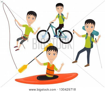 Outdoor sport and active lifestyles. Man traveler with backpack riding a bike on mountain, climbing on a cliff, goes hiking, rafting and kayaking sport. Vector illustration isolated on white.