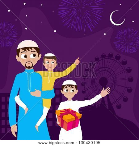 Cute little kids with their father watching moon on beautiful fireworks background, Concept for Muslim Community Festival, Eid Mubarak celebration.