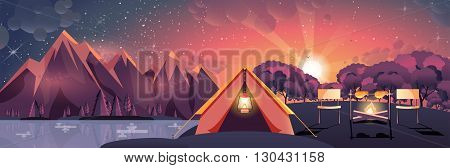 Stock vector illustration of night landscape, mountains, sunset, travel, hiking, nature, tent, campfire, camping in flat style element for info graphic, website, games, motion design