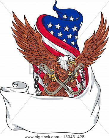 Drawing sketch style illustration of an american bald eagle looking to the side clutching with its talon towing j hooks with chains viewed from front with an unfurled usa american stars and stripes flag in the background.