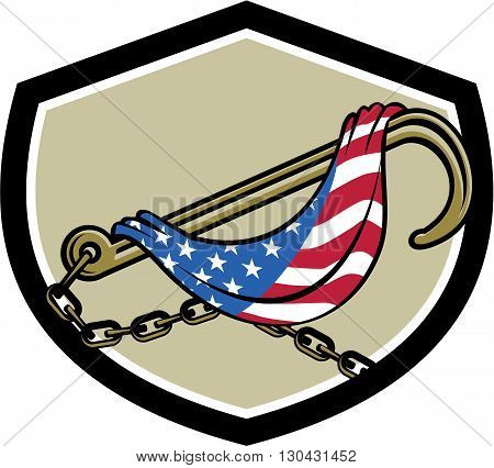 Illustration of a towing j hook with chain draped with usa american stars and stripes flag set inside shield crest done in retro style.