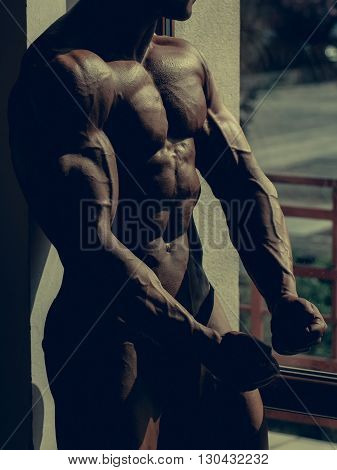 Muscular Bodybuilder With Abdominal Muscles