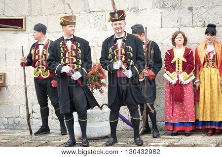 Perast, Montenegro - May 15, 2016: Shooting The Kokot (rooster) Celebration. Celebrates The Liberati