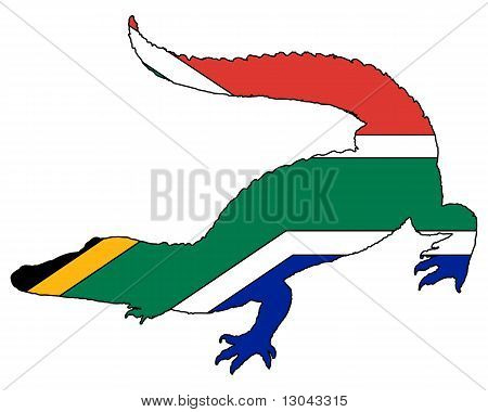 Detailed and colorful illustration of crocodile South Africa poster