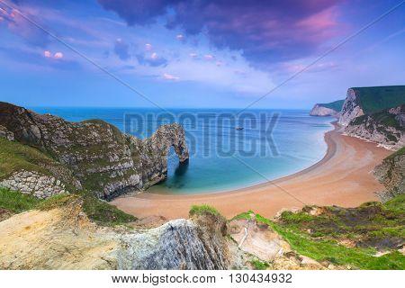 Jurassic Coast of Dorset with Durdle Door at sunrise , UK