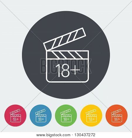 Adult movie clapper. Single flat icon on the button. Vector illustration.