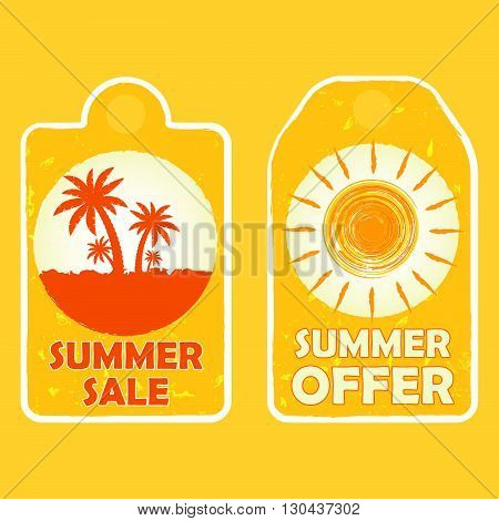 summer sale and offer labels with palms and sun signs - text in yellow drawn banners with symbols, business seasonal shopping concept, vector