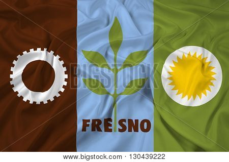 Waving Flag of Fresno California, with beautiful satin background