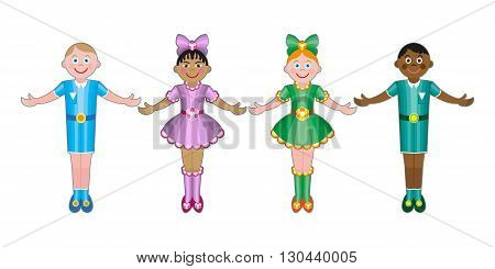 Stock illustration of kids friends from around the world around the white circle. Children of friends of the world Multinational friendship of children from around the world