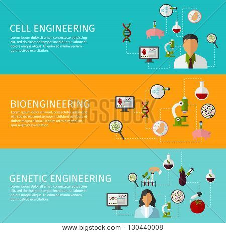 Three horizontal biotechnology banner set with description of cell engineering bioengineering and genetic engineering vector illustration