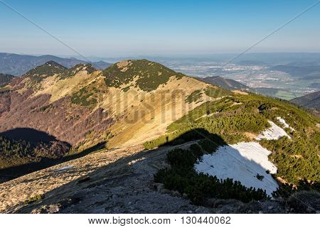 Ridge Of Slovak Little Fatra Hills And Zilina City