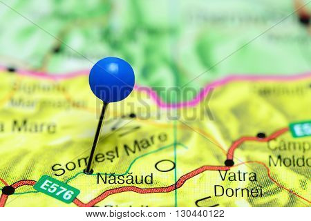 Nasaud pinned on a map of Romania