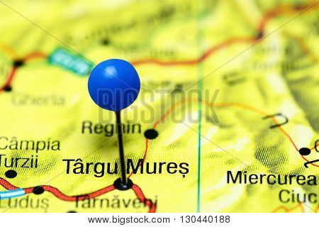Targu Mures pinned on a map of Romania