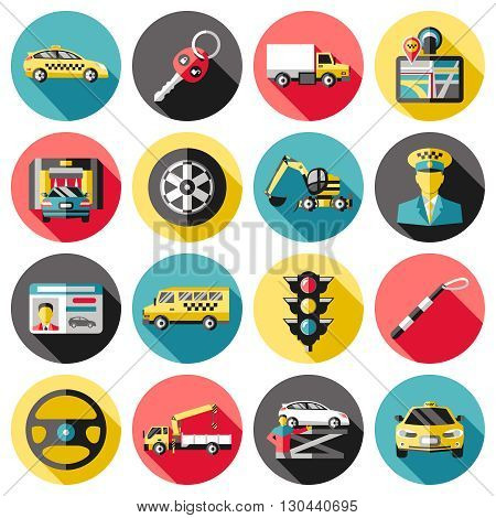 Driving long shadow icons set with key car washing breakdown truck navigator excavator hoist isolated vector illustration