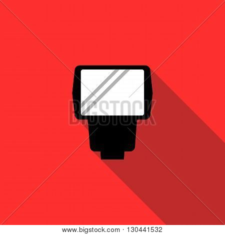 Lighting flash for camera icon in flat style on a red background