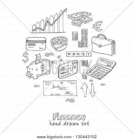 Hand drawn Finance set. Isolated vector illustration for identity, design, decoration, packages product and interior decoration