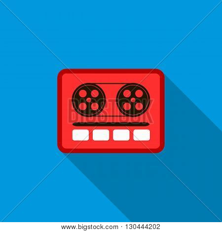 Boom box or radio cassette tape player icon in flat style on a blue background