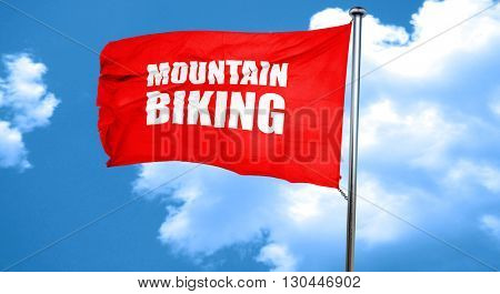 moutain biking, 3D rendering, a red waving flag