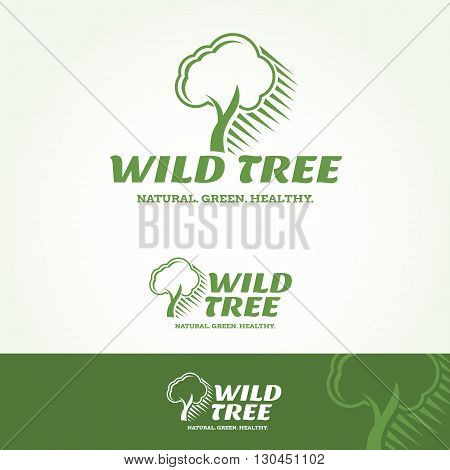 Wild Tree Logotype and Tagline. Vector template.