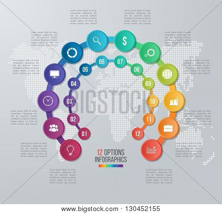 Vector circle infographic template for graphs charts diagrams. Business concept with 12 options parts steps processes with world map on the background.