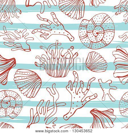 Sea shells, seastars and corals seamless background. Blue, red and white seamless pattern for coloring book, textile, print, wallpaper. Sea life pattern.