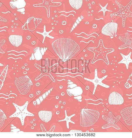 Sea shells, seastars and corals seamless background. Pink seamless pattern for coloring book, textile, print, wallpaper. Sea life pattern.