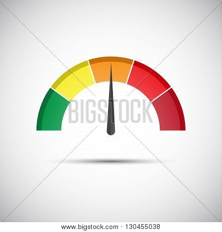 Color vector tachometer flowmeter with indicator in orange part speedometer and performance measurement icon illustration for your website infographic and apps