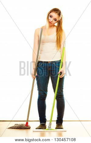 Tired Cleaning Woman Mopping Floor