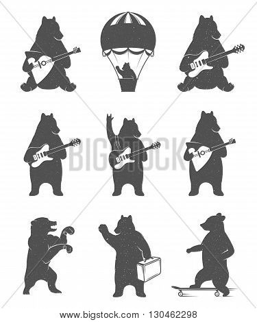 Design vintage illustration Travel Bear on balloon bear cycling and bear with guitar. Hipster print of bears. Romantic illustration for posters and prints of t-shirt