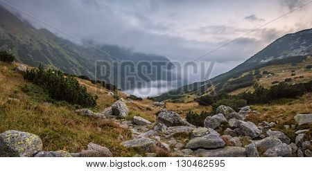 Mountains Landscape with Fog in Ziarska Valley and Rocks in Foreground