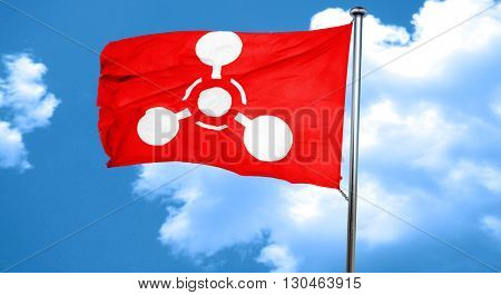 Chemical weapon sign, 3D rendering, a red waving flag