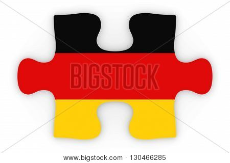 German Flag Puzzle Piece Top Down Orthographic 3D Illustration