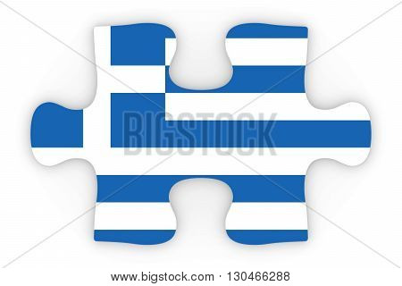 Greek Flag Puzzle Piece Top Down Orthographic 3D Illustration
