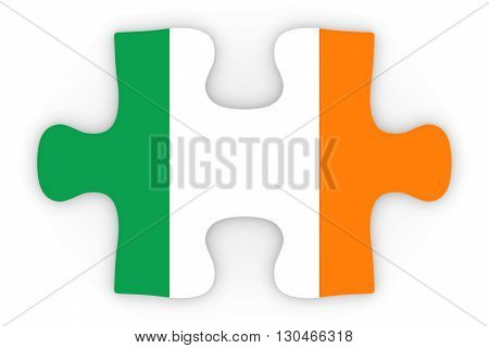 Irish Flag Puzzle Piece Top Down Orthographic 3D Illustration